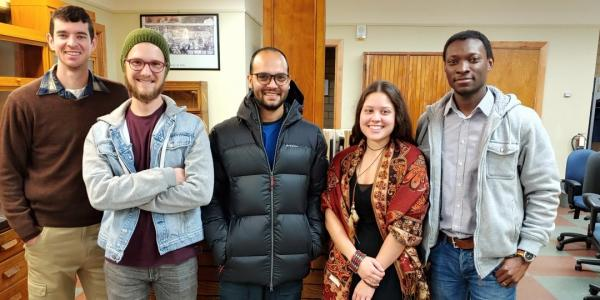 Five of the eight members of Michigan Tech's COP25 student research team pictured       from left: Will Lytle, Gabriel Ahrendt, Shardul Tiwari, Alexis Pascaris and Adewale       Adesanya.