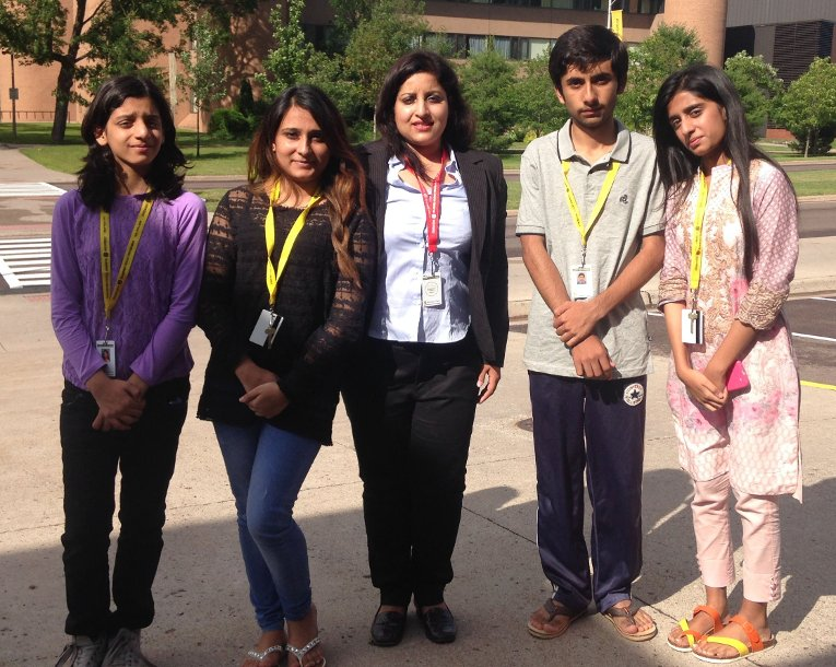 From Left, Maheen Faraz, Hanana Anwar, chaperone Shamaila Idress, Shazil Rasool and Laraib Akhtar are seen July 14 on the campus of Michigan Tech. The students from Pakistan attending Summer Youth Programs.