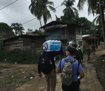 Cadets from CULP Team Panama, including Brandon Van Wert from MIchigan Tech, visit the town of Yaviza in Panama's jungle-covered Dari?n Province.