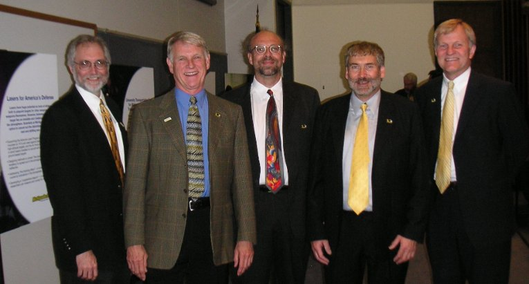 At the MTRI dedication in 2007, from the left: David Reed, vice president for research; Dave House; Nikola Subotic and Bob Shuchman,MTRI co-directors; President Glenn Mroz.