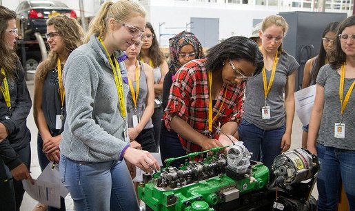 Women in Automotive Engineering scholarship program students get a hands-on look at how internal combustion engines work by dismantling them piece-by-piece.
