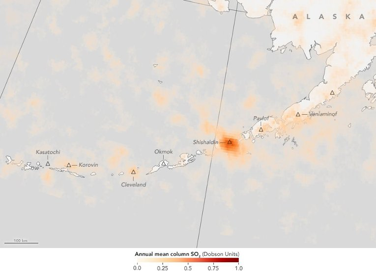 Volcanic sulfur dioxide emissions from the Aura satellite are shown in shades of orange in this zoom in of the Aleutian Archipelago in Alaska. Credit: Jesse Allen/NASA's Earth Observatory