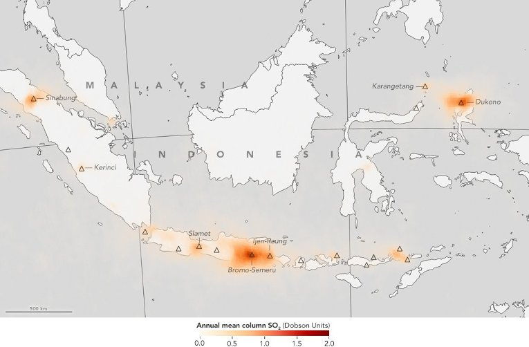 Volcanic sulfur dioxide emissions from Indonesia's many volcanoes are shown in shades of orange. The data was produced from observations from NASA's Aura satellite. Credit: Jesse Allen/NASA's Earth Observatory