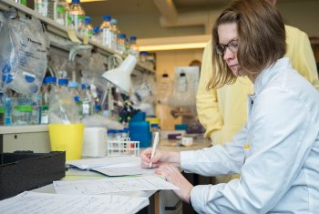Hannah Cunningham, a biomedical engineering major at Michigan Tech, looks at how to use DNA as a tiny thermometer.