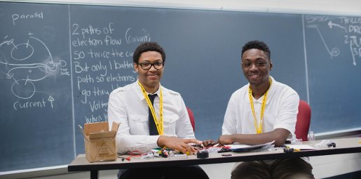 Ari Smith (right) says learning about energy has opened his eyes to many career options and interesting science.