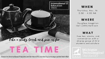 Students, faculty and staff are invited to relax and enjoy the music at Tea Time.