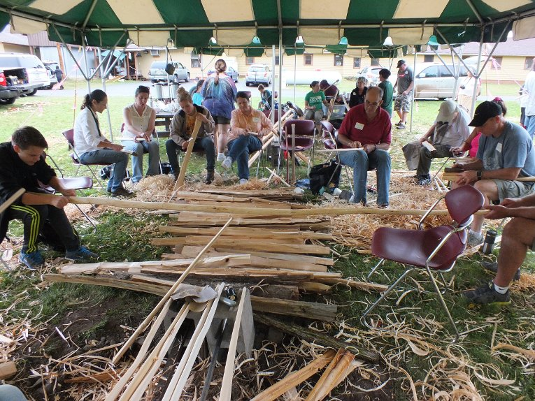 Scent of white cedar, sound of sanding: tool-making at the Fall 2017 Rice Camp at Michigan Tech's Ford Forest and Center.