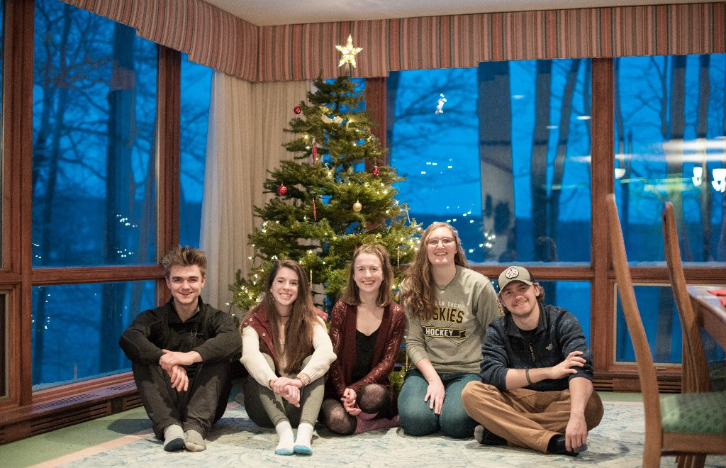 Sustainability House students under tree