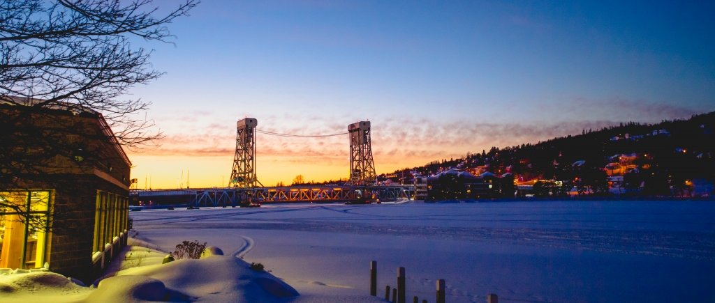 Houghton lift bridge at sunrise
