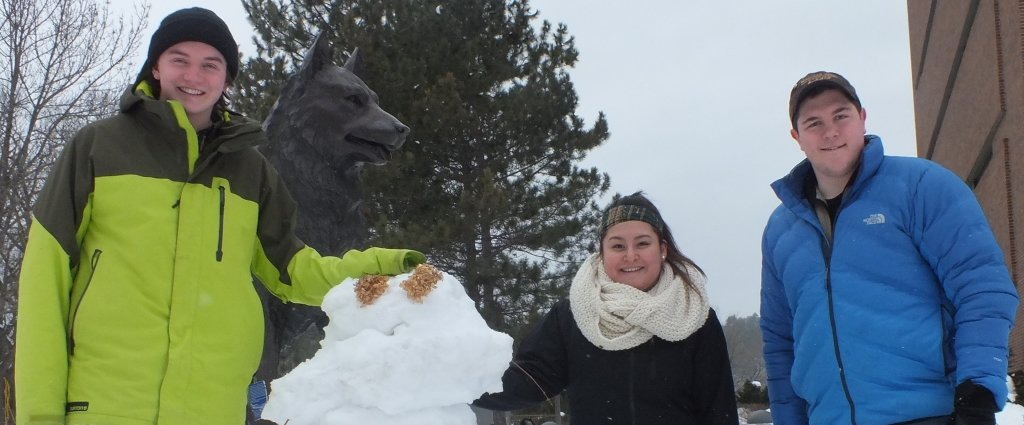 two young male college students and a female college student stand by a snowman and a statue of a Husky dog