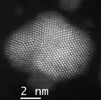 An atomic image of a gold nanoparticle.