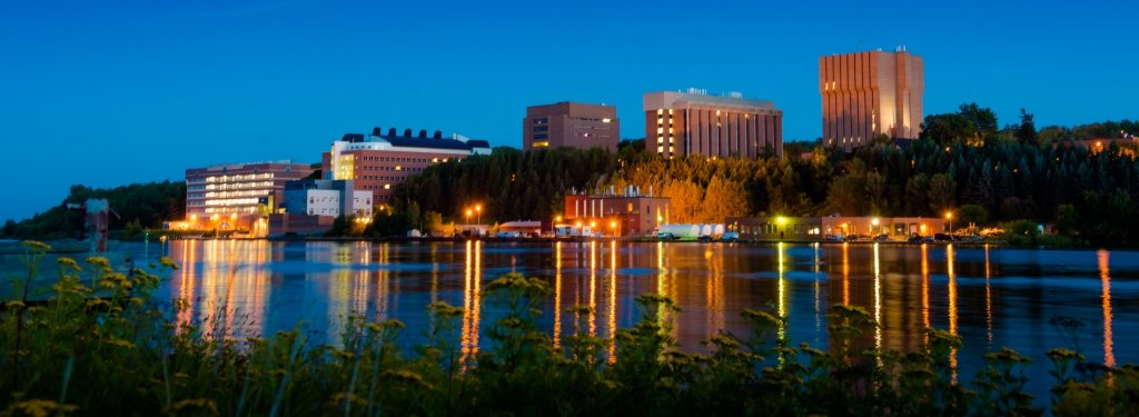 Michigan Tech campus at night