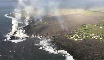 Kapoho Bay in Hawaii filled with lava.