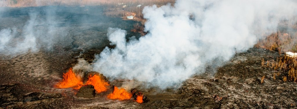 Lava fountains spew and smoke rises at the Kilauea eruption in Hawaii.