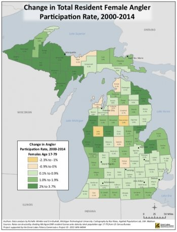 A map of Michigan showing angler demographics by county