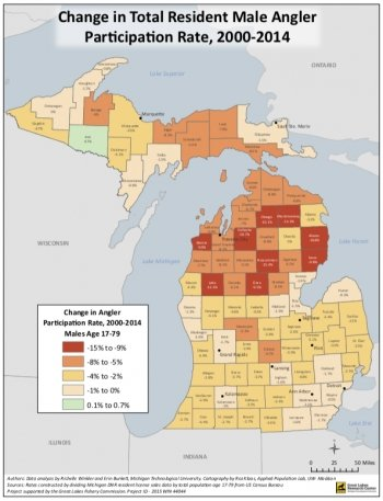 A map of Michigan angler demographics by county