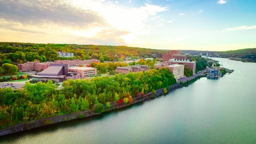 Drone image of the Michigan Tech campus