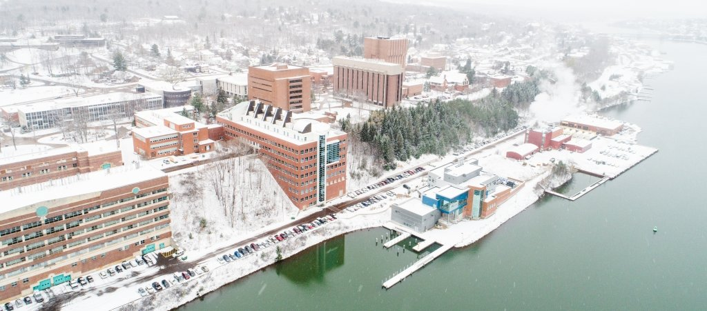 Drone image of Michigan Tech campus in winter