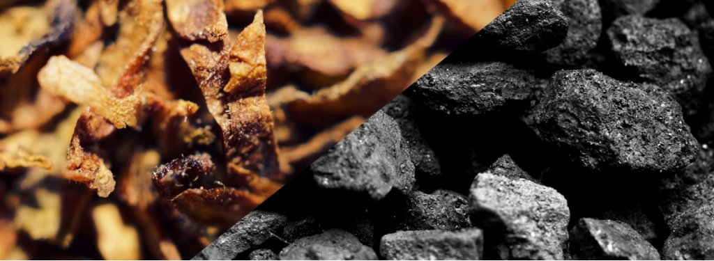 Dried tobacco leaves and pieces of coal.