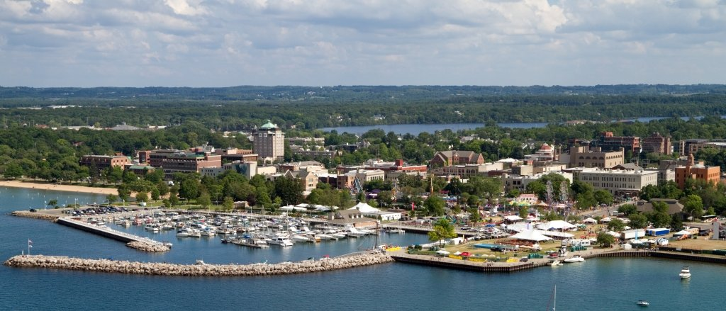 An aerial shot of Traverse City by Getty Images