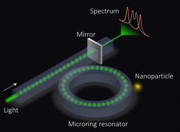 A graphic depiction of a microring sensor, which looks like a doughnut by which a beam of light is passed through a mirror.