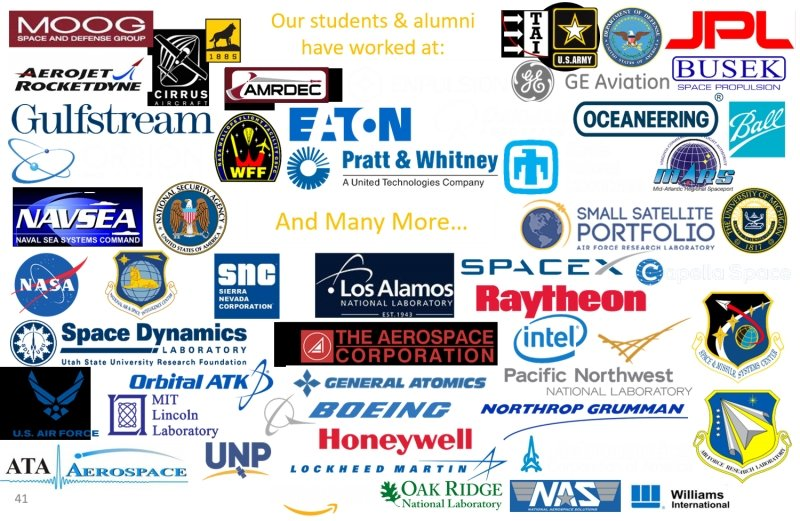 Sticker with companies Michigan Tech students and alumni have worked at including moog, gulfstream, spacedynamics, orbital atk, MIT, US AF, UNP, Lockheed, amazon, Oak Ridge, SpaceX, Raytheon, GE Aviation, BUSEK, Eaton, AMRDEC, Boeing, Honeywell, Williams International, Ball, MARS, Capella Space, Sandia National laboratories, Enpulsion, AMRDEC, Astronautics Corp. Orbion, Space Dynamics Laboratory, NASA