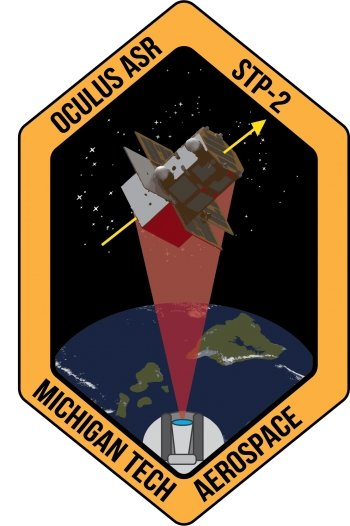 A mission patch reading Oculus ASR STP-2 Michigan Tech Aerospace