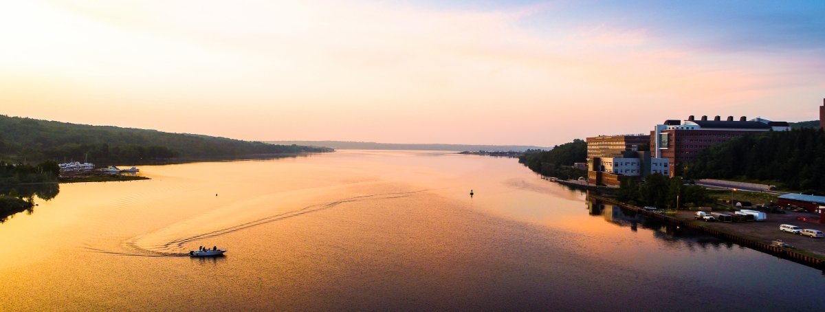 An aerial view of the Portage Canal at sunrise.