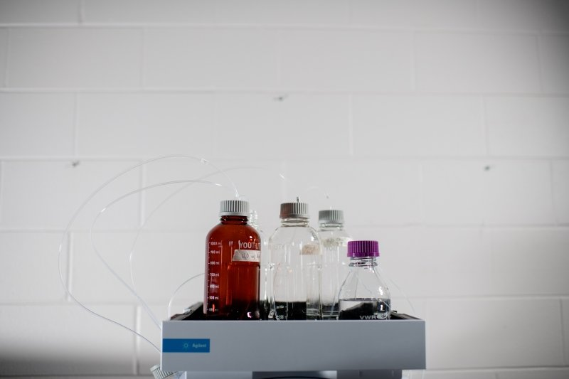 chemistry equipement against a white wall