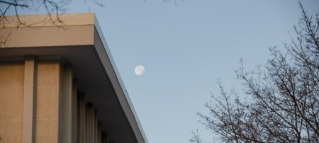 moon over Fisher Hall