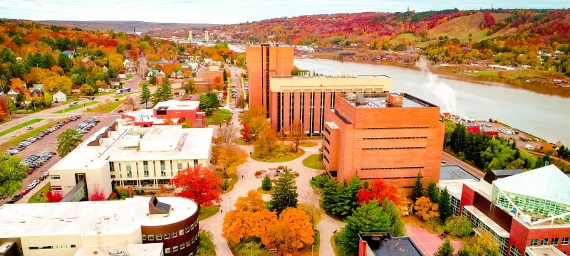 An aerial image of Michigan Tech's campus.