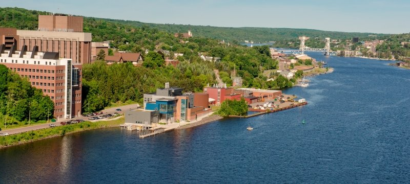 The Michigan Tech campus as seen from the Keweenaw Waterway.