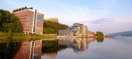 The Great Lakes Research Center and its reflection in the waters of the Keweenaw Waterway.