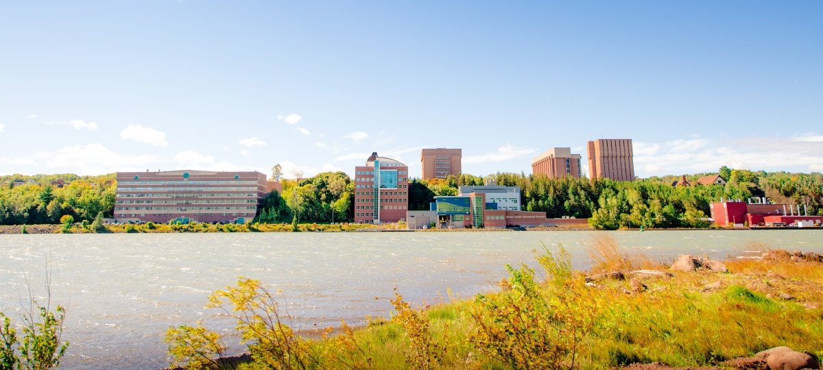 Michigan Tech campus viewed from the Portage Canal