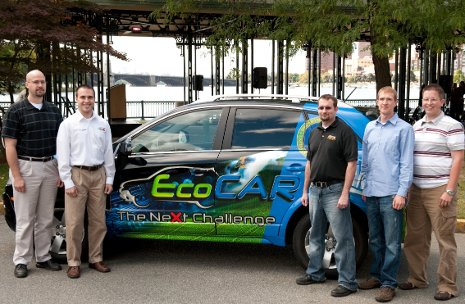 Michigan Tech EcoCAR co-advisor Wayne Weaver with team members Chris Lucier, Trever Hassell, Eric Joseph and Lucas Meeuwsen
