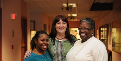 Tech's Patricia Helsel (center) with Paige Gibson, left, and Marilyn McCormick, right, from Cass Technical High School.