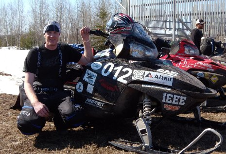 Minnesota-Duluth's Sam Cassibo completes the 2010 Clean Snowmobile Challenge Endurance Run
