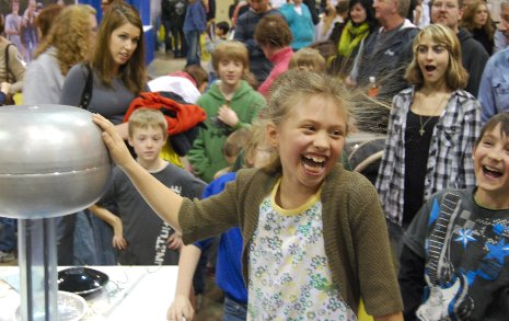 Young students have a hair-raising good time at the Einstein Science Expo