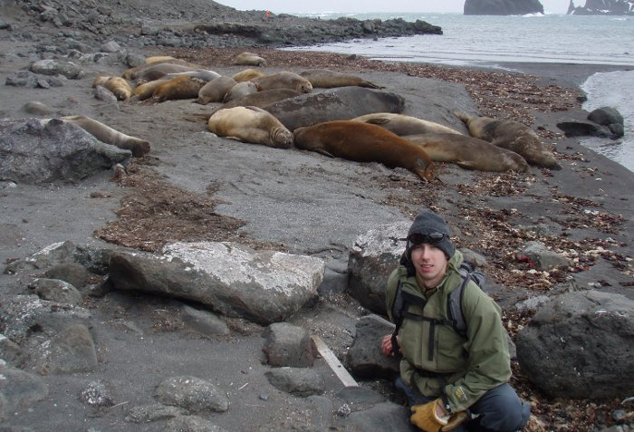Chris Johnson with elephant seals on King George Island, Antarctica.