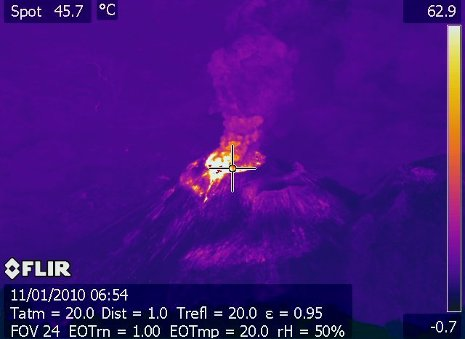A FLIR camera image uses light intensity or color brightness to show levels of heat in the Santiaguito Volcano's crater in Guatemala.