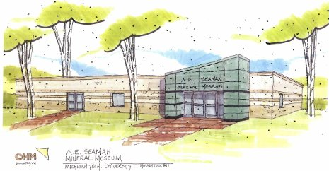 Artist's rendering of the new Seaman Mineral Museum. OHM drawing.
