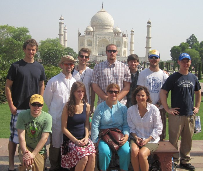 At the Taj Mahal are (top row, left to right) Eric Sturos, Brett Hamlin, Jordan Marlor, Wilbur Winkle, Scott Cartwright, Michael Nienhaus, Cody Thompson, (bottom row) Bryan Plunger, Nicole Swegle, Sheryl Sorby and Tammy Haut Donahue.