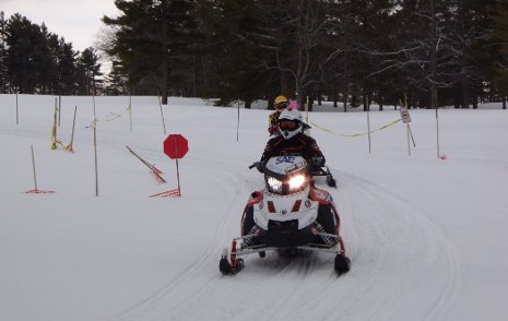The University of Wisconsin-Platteville finishes the 2011 Clean Snowmobile Challenge Endurance Run.