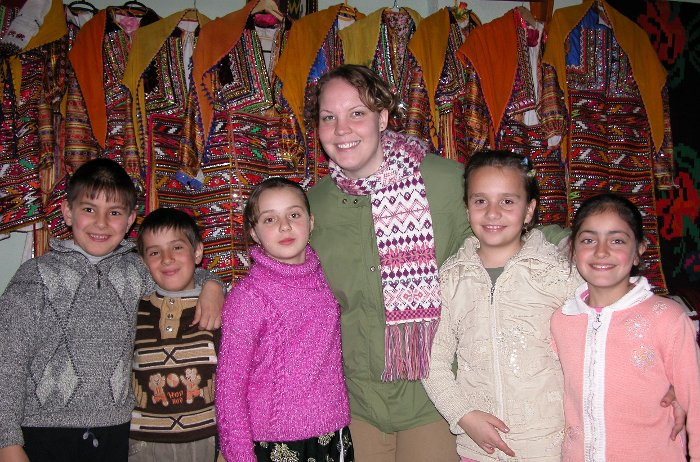 Callie Bertsch with school children in a Muslim village in Bulgaria.