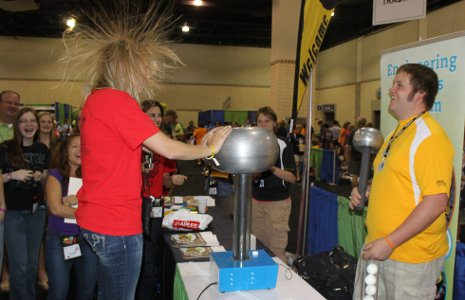 Getting a charge out of a Van de Graaff generator.