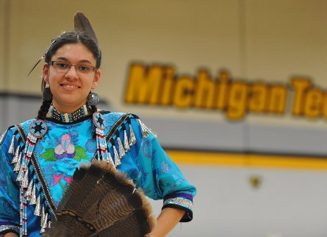 A student at this year's Spirit of the Harvest Powwow
