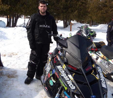 Dylan Truskolaski of Michigan Tech, at the end of the 2012 SAE Clean Snowmobile Challenge Endurance Run