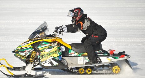 Clarkson University's four-stroke Ski-Doo won the internal combustion category of the 2012 SAE Clean Snowmobile Challenge.