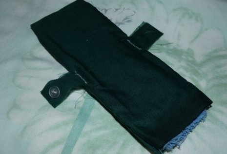 A reusable pad hand-made from toweling.