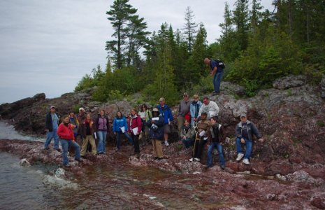 MiTEP teachers learn to lead earthcache hunts on the shores of Lake Superior.